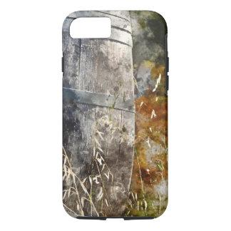 Barril de vino del otoño en un viñedo funda iPhone 7