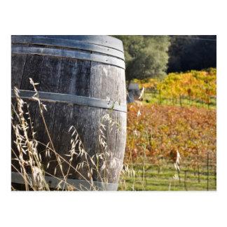 Barril de vino en caída del otoño postales