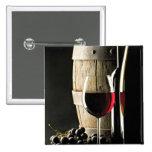 Barril de vino, uvas, y vidrio