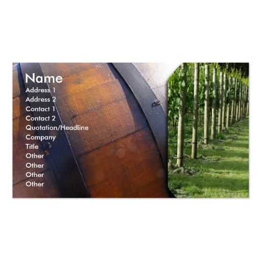 Barril del viñedo y de vino plantilla de tarjeta de negocio