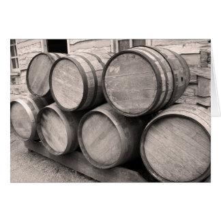Barriles de madera del whisky tarjeta