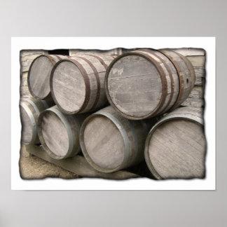 Barriles de madera rústicos póster