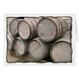 Barriles de madera rústicos tarjetón