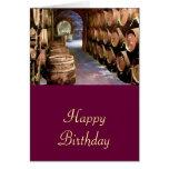 Barriles de vino en el cumpleaños de la bodega felicitaciones