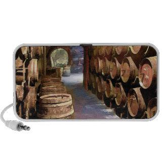 Barriles de vino en la bodega iPhone altavoces