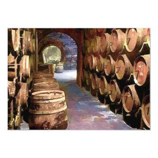"""Barriles de vino en la bodega invitación 5"""" x 7"""""""
