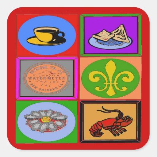 Barrio francés de los símbolos de New Orleans Pegatina Cuadrada