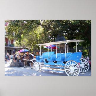Barrio francés de New Orleans del caballo y del ca Póster