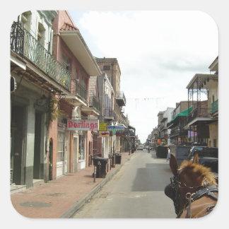 Barrio francés de New Orleans Pegatina Cuadrada