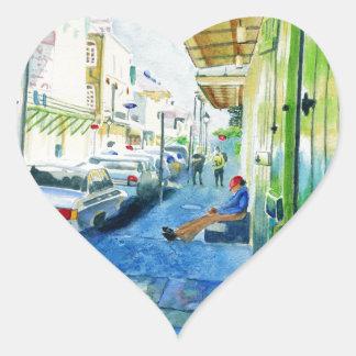 Barrio francés de New Orleans Pegatina En Forma De Corazón