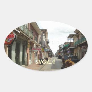 Barrio francés de New Orleans Pegatina Ovalada