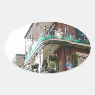 Barrio francés de NOLA Pegatina Ovalada
