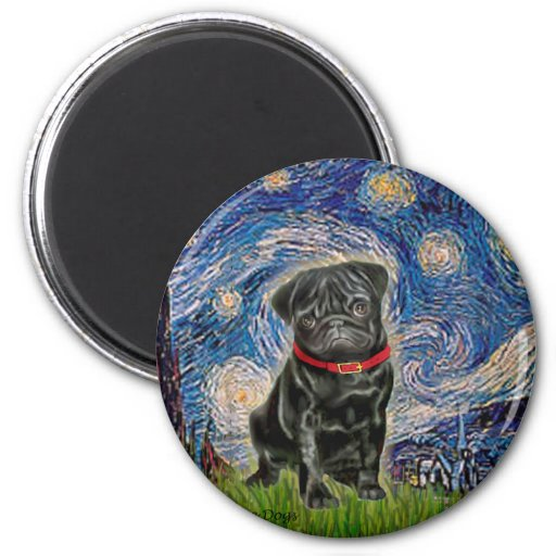 Barro amasado 13 (negro) - noche estrellada imán redondo 5 cm