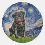 Barro amasado 13 (negro) - noche estrellada pegatinas redondas