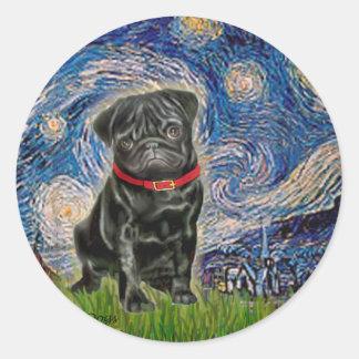 Barro amasado 13 (negro) - noche estrellada pegatina redonda
