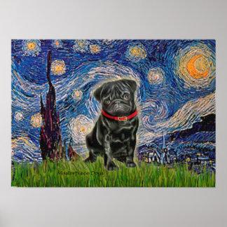 Barro amasado 13 (negro) - noche estrellada póster