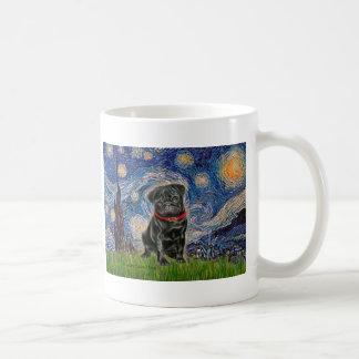 Barro amasado 13 (negro) - noche estrellada tazas de café