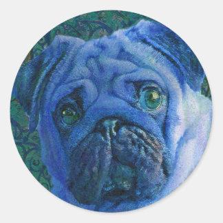 barro amasado azul pegatina redonda