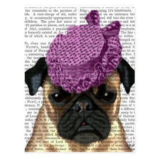 Barro amasado con el gorra de la púrpura del postales