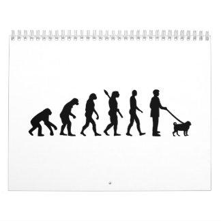 Barro amasado de la evolución calendarios de pared