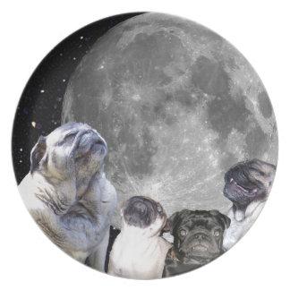 Barro amasado de la luna del barro amasado cuatro plato para fiesta