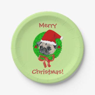 Barro amasado de las Felices Navidad Platos De Papel