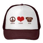 Barro amasado del amor de la paz gorros