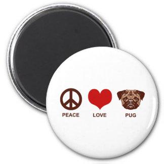 Barro amasado del amor de la paz imán redondo 5 cm
