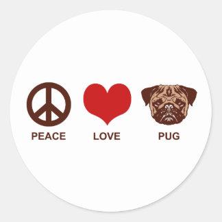 Barro amasado del amor de la paz pegatina redonda