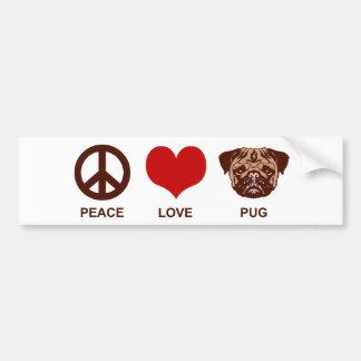 Barro amasado del amor de la paz pegatina para auto