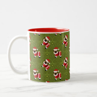 Barro amasado del navidad en el juego de santa con taza dos tonos