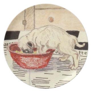 Barro amasado del perro chino plato para fiesta