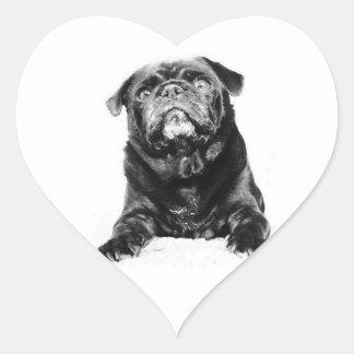 Barro amasado - negro y blanco negros del BARRO Pegatina En Forma De Corazón