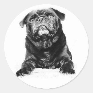 Barro amasado - negro y blanco negros del BARRO Pegatina Redonda