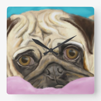 Barro amasado pintado Digital con los ojos tristes Reloj Cuadrado