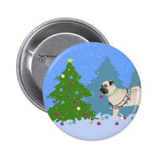 Barro amasado que adorna un árbol de navidad en el pin redondo de 2 pulgadas