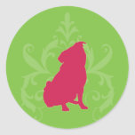 Barro amasado rosado etiqueta redonda