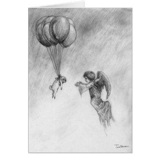 Barro amasado y ángel tarjeta de felicitación