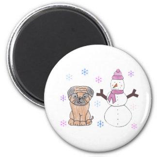 Barro amasado y muñeco de nieve iman de nevera