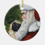 Barro amasado y ornamento del arte del perro de adorno navideño redondo de cerámica