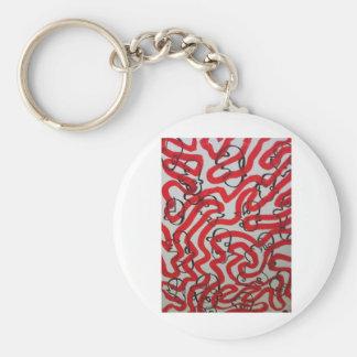 barro blanco y negro rojo por SLUDGEart Llaveros Personalizados