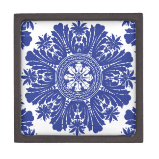Barroco azul y blanco de la porcelana caja de recuerdo de calidad