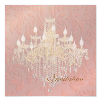 Barroco Damas de Champán del rosa de la lámpara de Invitación 13,3 Cm X 13,3cm