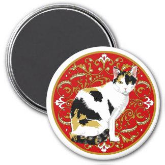 Barroco del gato de calicó imán redondo 7 cm