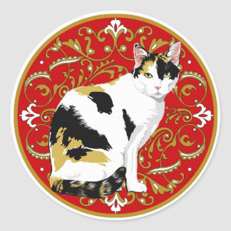 Barroco del gato de calicó etiqueta