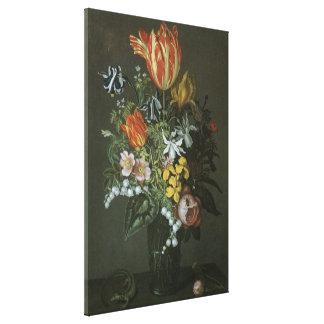 Barroco del vintage, aún flores florales de la lienzo envuelto para galerías