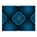 Barroco gótico romántico en el monograma azul tarjeta postal