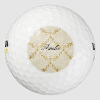 Barroco, oro, floral, antiguo, vintage, creame, pack de pelotas de golf