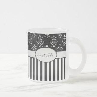 Barroco rayado negro y blanco tazas
