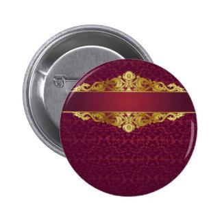 Barroco, vintage, rojo, oro, damasco, plantilla, pin redondo de 2 pulgadas
